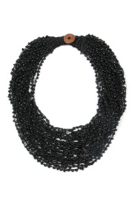 S4-5-2-AHDN4264BK BLACK CROCHET BEADS BIB STATEMENT NECKLACE/6PCS