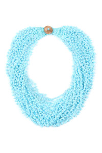 SA4-2-3-AHDN4264BL BLUE CROCHET BEADS BIB STATEMENT NECKLACE/6PCS