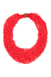 SA4-2-2-AHDN4264RD RED CROCHET BEADS BIB STATEMENT NECKLACE/6PCS