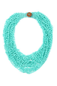 S4-5-2-AHDN4264TQ TURQUOISE CROCHET BEADS BIB STATEMENT NECKLACE/6PCS