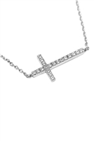 S24-3-3-HDNB1N242-1OR - ZIRCON CROSS PENDANT NECKLACE - SILVER/6PCS