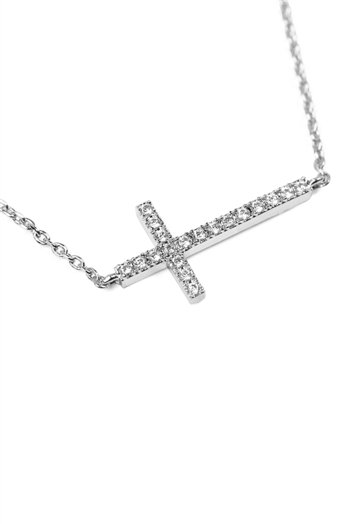 S1-4-3-HDNB1N242-1OR - ZIRCON CROSS PENDANT NECKLACE - SILVER/6PCS
