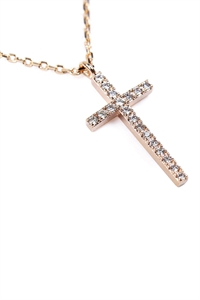 S1-4-1-HDNB1N242GD - ZIRCON CROSS PENDANT NECKLACE - GOLD/6PCS