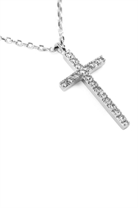 S22-8-4-HDNB1N242OR - ZIRCON CROSS PENDANT NECKLACE - SILVER/6PCS