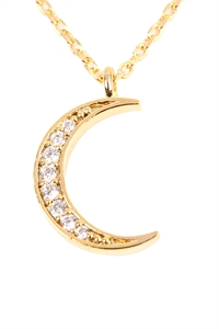 S24-3-3-HDNB2N119GD -CRESCENT MOON CRYSTAL PAVE PENDANT NECKLACE - GOLD/6PCS