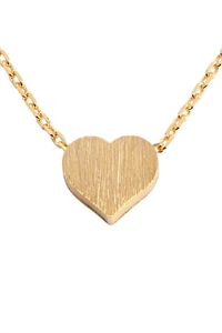 S22-8-4-HDNB2N376GD - HEART CAST PENDANT NECKLACE - GOLD/6PCS