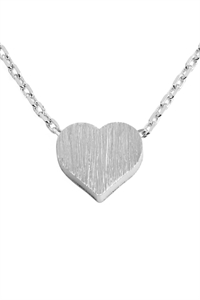 S22-8-4-HDNB2N376OR - HEART CAST PENDANT NECKLACE - SILVER/6PCS