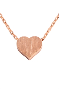 S22-8-4-HDNB2N376PG - HEART CAST PENDANT NECKLACE - ROSE GOLD/6PCS