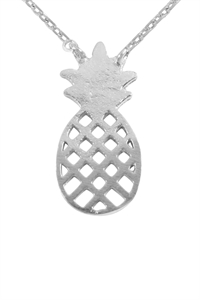 S24-3-3-HDNB3N100OR -PINEAPPLE CAST PENDANT NECKLACE - SILVER/6PCS