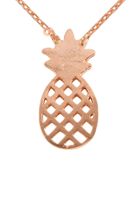 S24-3-3-HDNB3N100PG -PINEAPPLE CAST PENDANT NECKLACE - ROSE GOLD/6PCS