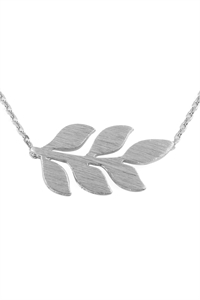 S24-3-3-HDNB3N66OR - LEAVES BRANCH CAST PENDANT NECKLACE - SILVER/6PCS