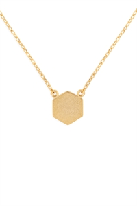 S24-3-3-HDNC2N479GD -HEXAGON PENDANT NECKLACE-GOLD/6PCS