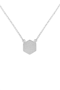 S24-3-3-HDNC2N479OR -HEXAGON PENDANT NECKLACE-SILVER/6PCS