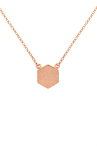 S24-3-3-HDNC2N479PG -HEXAGON PENDANT NECKLACE-ROSE GOLD/6PCS