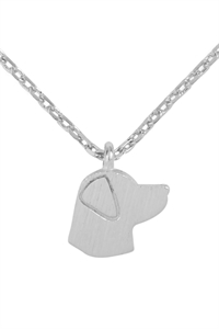S1-4-3-HDNC3N47OR - DOG CAST PENDANT NECKLACE - SILVER/6PCS