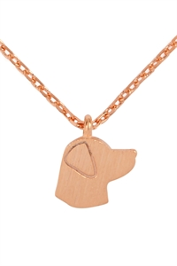 S1-4-3-HDNC3N47PG - DOG CAST PENDANT NECKLACE - ROSE GOLD/6PCS