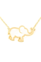 S24-3-3-HDNC3N82GD - ELEPHANT CAST PENDANT NECKLACE - GOLD/6PCS