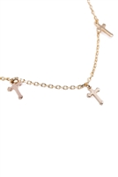 S24-2-3-HDND1N27GD - 5 DAINTY SMALL CROSS NECKLACE - GOLD/6PCS