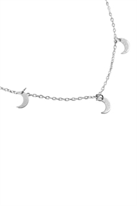 S22-8-4-HDND2N34OR - 5 DAINTY SMALL MOON NECKLACE - SILVER/6PCS