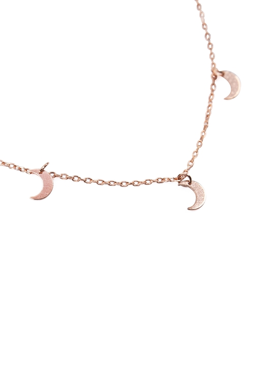 S22-8-4-HDND2N34PG - 5 DAINTY SMALL MOON NECKLACE - ROSE GOLD/6PCS