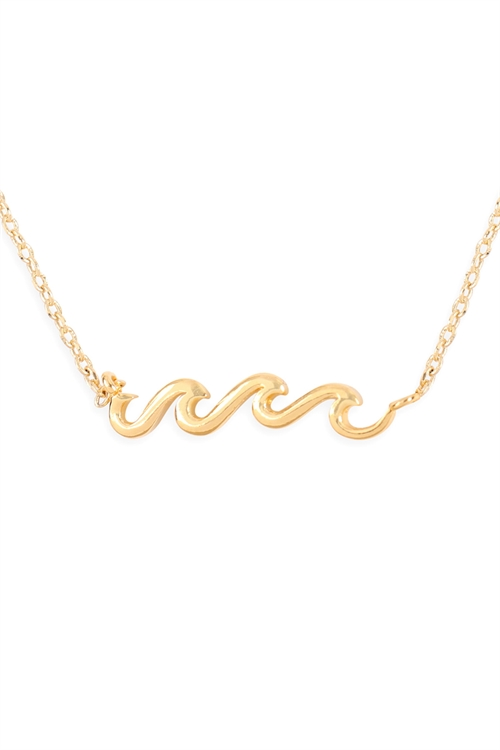S24-3-3-HDND3N100GD -WAVE PENDANT NECKLACE-GOLD/6PCS