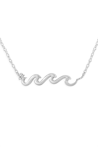 S24-3-3-HDND3N100OR -WAVE PENDANT NECKLACE-SILVER/6PCS