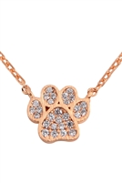 S24-4-3-HDND3N27PG - CAST PAW CRYSTAL PAVE PENDANT NECKLACE - ROSE GOLD/6PCS