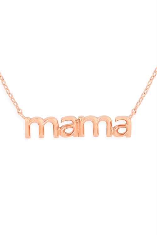 S24-3-3-HDNEN512PG -MAMA PENDANT NECKLACE-ROSE GOLD/6PCS