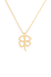 S24-3-3-HDNEN611GD -CLOVER CAST PENDANT NECKLACE-GOLD/6PCS