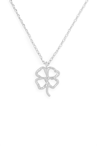 S24-3-3-HDNEN611OR -CLOVER CAST PENDANT NECKLACE-SILVER/6PCS