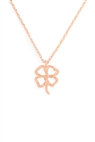 S24-3-3-HDNEN611PG -CLOVER CAST PENDANT NECKLACE-ROSE GOLD/6PCS