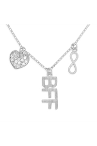 S24-3-3-HDNFN379OR - INFINITY HEART BFF CUBIC ZIRCONIA PENDANT NECKLACE-SILVER/6PCS