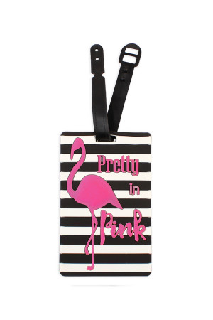 S4-5-2-AHDP1978 PRETTY IN PINK STRIPED LUGGAGE TAGS/6PCS