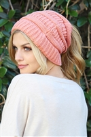 S1-8-4-AHDT2510DPK DUSTY PINK KNITTED PONYTAIL BEANIE/6PCS