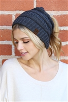 S1-6-3-AHDT2510NV NAVY  KNITTED PONYTAIL BEANIE/6PCS