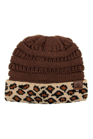 S6-7-1-AHDT2511BR BROWN LEOPARD CUFF KNITTED BEANIE/6PCS