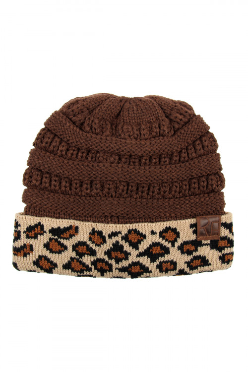 S1-4-5-AHDT2511BR BROWN LEOPARD CUFF KNITTED BEANIE/6PCS