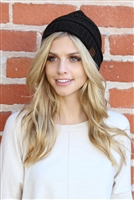 S1-4-1-AHDT2512BK BLACK KNITTED BEANIE/6PCS