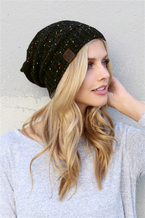 S6-8-1-AHDT2512BKMX BLACK MIX KNITTED BEANIE/6PCS