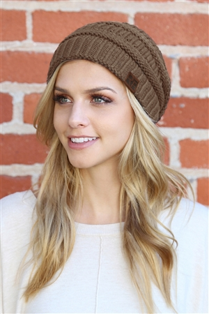 S6-9-1-AHDT2512BR BROWN KNITTED BEANIE/6PCS