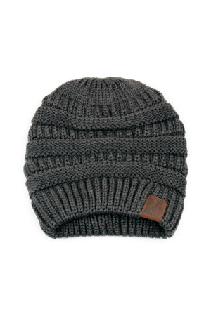 S6-9-1-AHDT2512DGY DARK GRAY KNITTED BEANIE /6PCS