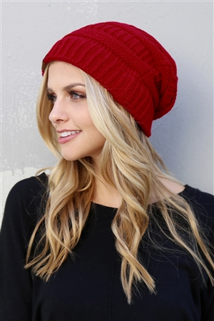 S6-7-1-AHDT2512RD RED KNITTED BEANIE/6PCS
