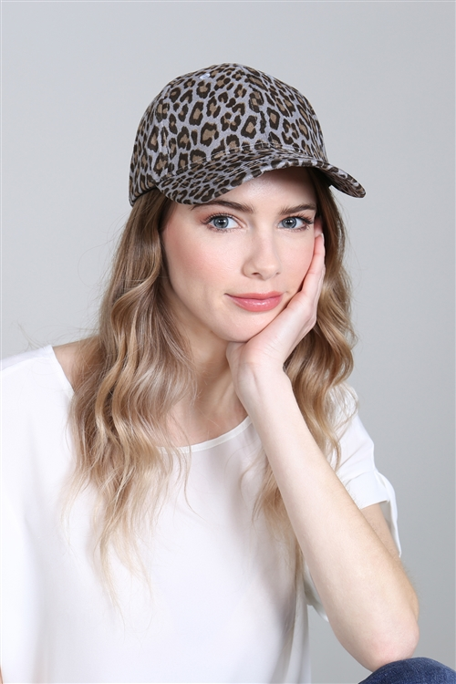 A3-1-1-AHDT2820GY GRAY LEOPARD SKIN PRINTED CAP/6PCS