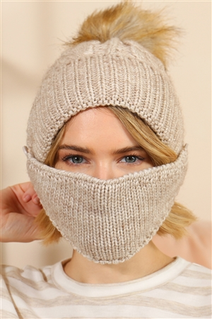 S18-8-4-AHDT2925BG BEIGE KNITTED POM BEANIE WITH MATCHING MASK/6SETS