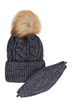 S2-9-1-AHDT2925BK BLACK KNITTED POM BEANIE WITH MATCHING MASK SET/6SETS