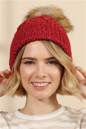 S2-9-1-AHDT2925BU BURGUNDY KNITTED POM BEANIE WITH MATCHING MASK SET/6SETS