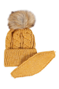 S18-9-4-AHDT2925MU MUSTARD KNITTED POM BEANIE WITH MATCHING MASK SET/6SETS