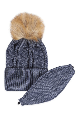 S18-9-4-AHDT2925NV NAVY KNITTED POM BEANIE WITH MATCHING MASK SET/6SETS