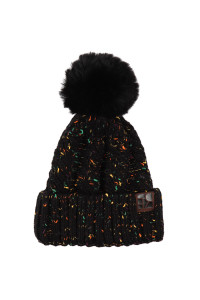 S2-10-1-AHDT2926BK BLACK KNITTED POM BEANIE/6PCS