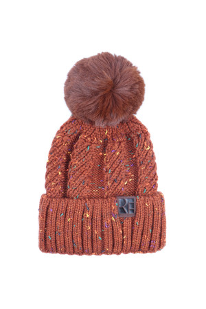 S2-10-1-AHDT2926BR BROWN KNITTED POM BEANIE/6PCS